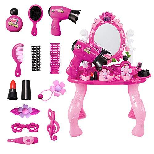 SQZW Juego de mesa de tocador de fantasa con luces, sonidos, accesorios de moda y maquillaje para nios y juegos de simulacin, juguete para nios de 2,3,4 aos