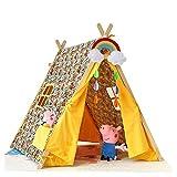 Kibten Zoológico creativo Decoración de patrón infantil Niños Niño Teepee Play Carpa Tipi Niños Indian Wigwam Playhouse Algodón Teepee Carpa de madera for bebés Niños pequeños Regalo de cumpleaños pre