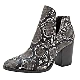 Dermanony🎉Women Mid-Heel Boots Fashionable Autumn Short-Heeled Thick-Heeled Printed Ankle Snakeskin Pattern Short Boots Black