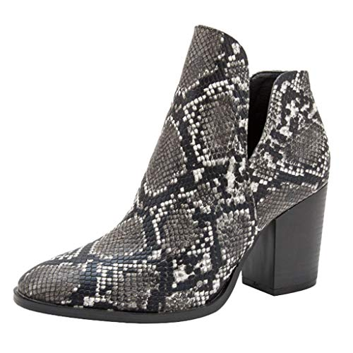 DermanonyWomen Mid-Heel Boots Fashionable Autumn Short-Heeled Thick-Heeled Printed Ankle Snakeskin Pattern Short Boots Black