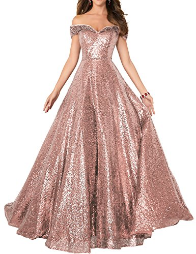 YIRENWANSHA 2019 Off Shoulder Sequined Prom Party Dresses for Women A Line Empire Waist Robes Plus Size Formal Evening Skirts Long Elegant Gowns SHPD41 Rose Gold Size 18W