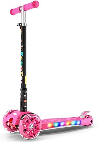 CDREAM Kinderscooter Dreirad Mit Verstellbarem Lenker Kinderroller Roller Scooter Blinken Für Kinder Ab 3 Jahren Bis 100g,Rosa(A)