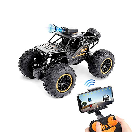 1:18 Remote Control Car, Fcoreey WiFi Camera Alloy Off Road Truck High Speed Fast Racing Electric Hobby Toy 2.4Ghz All Terrain Monster Vehicle Hobby Truck for Boys Teens Adults