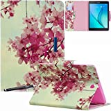 Galaxy Tab A 9.7 Case - Newshine Colorful Magnetic Closure Stand Folding Protective Cover Auto Wake/Sleep for Samsung Galaxy Tab A 9.7 Inch 2015 Model (SM-T550 PT550) - Pink Sakura