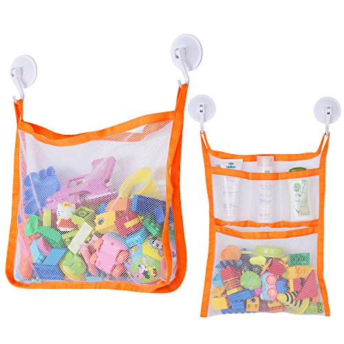 SUNDOKI Bath Toy Organizer, Bath Toy Holder Storage Bags with 4 Suction Cup Hooks and 2 Bath Toy Nets for Kids, Toddlers and Adults (Orange)