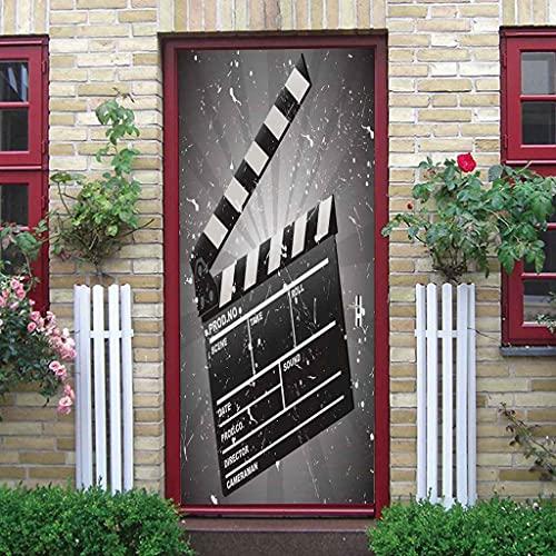 CUUDBP 3D Pegatinas De Pared Para Sala Oficina Pizarra De Película En Blanco Y Negro 77X200Cm Creativo Mural De Puerta Pvc Impermeable Autoadhesivo Removible Papel Tapiz Murales Foto Posters Decoracio