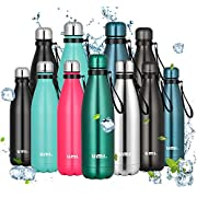 Umi. by Amazon - Water Bottle, 500ml Vacuum Insulated Sport Bottle, 12 Hours Hot/24 Hours Cold, Double Walled 18/8 Stainless Steel Water Flask for Outdoor, School, Run, Dark Green