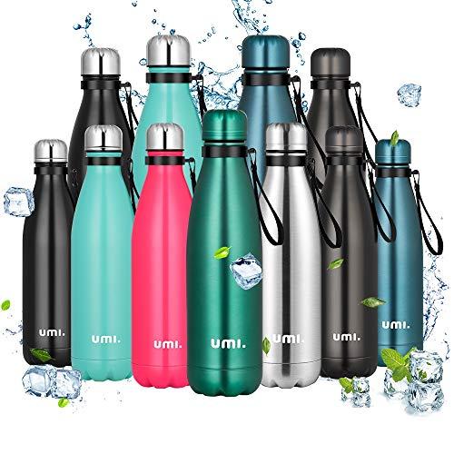 Amazon Brand - Umi Botella Agua Acero Inoxidable, Termo 500ml, Sin BPA, Islamiento de Vacío de Doble Pared, Botellas Frío/Caliente, Reutilizable para Niños, Colegio, Sport, Bicicleta (Verde os