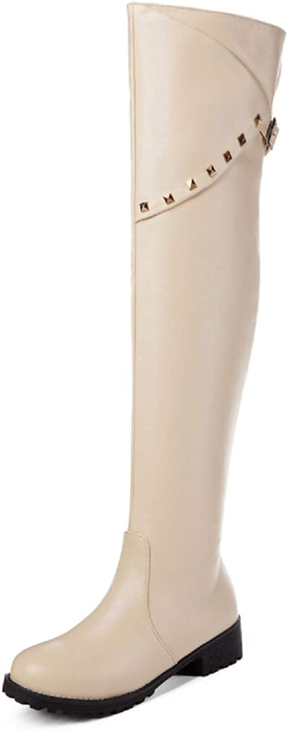 Rongzhi Womens Sexy Knee High Boot Rivet Buckle Round Toe Pull on Boots Apricot