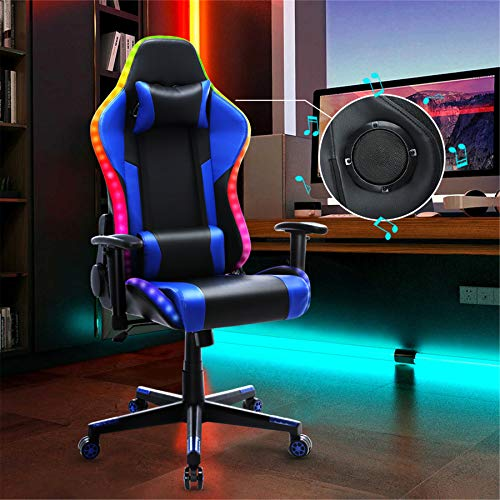 Gaming Chair with Bluetooth Speakers RGB LED Lights, Music Video Game...