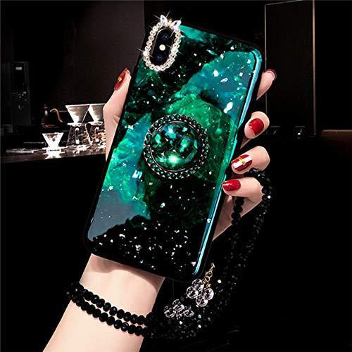 LIUYAWEI Funda de Anillo de Dedo de mármol con Diamantes para iPhone 11 Pro 6 7 8 Plus X XS MAX XR 12 Funda con Brillo Brillante y Anillo de teléfono con Correa de Perlas, Verde, para iPhone 8 Plus