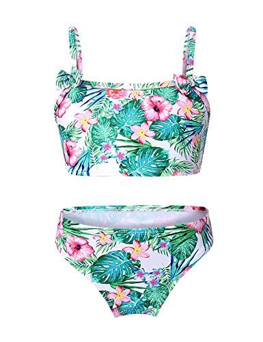 TiaoBug Mädchen Hawaii Bikini Set Bustier Top und Bikinihose Sommer Bademode mit 3D Druck Strandkleidung gr. 92-128 Grün 98-104/3-4 Jahre