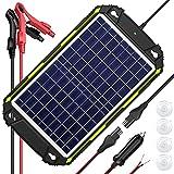 Sun Energise 12V 10W Panel Solar Portátil Cargador de Batería, Controlador de Carga MPPT Inteligente Incorporado Para Automóvil, Barco, RV, ATV, Remolque, Deportes de Motor, Moto de Nieve