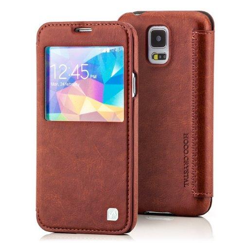 EVOLUXO Hoco - Funda con tapa y ventana para Samsung Galaxy S5, color marrón