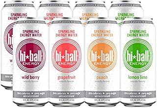Hiball Energy 4 Flavor Sparkling Energy Water Variety Pack, Zero Sugar and Zero Calorie Energy Drink, 16 Fluid Ounce Cans, Pack of 8