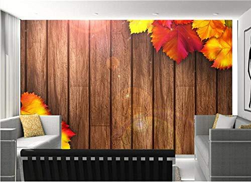 Wandtapete 3d Herbstlaub Holzbretter| Tapete | Wandbild | Wandbild | Bild | Fototapeten | Tapeten | Wandtapete | Wanddeko | Wandtapete | Abstrakt 3d-250cm×175cm