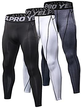 Yuerlian Men s Compression Pants Baselayer Cool Dry Sports Tights Leggings Running Tights 3 Pack