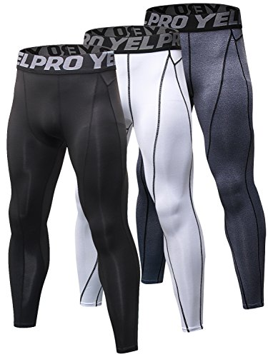 Yuerlian Men's Compression Pants Baselayer Cool Dry Sports Tights Leggings Running Tights 3 Pack