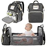 3 in 1 Diaper Bag Backpack with Foldable Bed, Portable Sleeping Mummy Bag for Newborn Essentials Must Haves Organizer with Stroller Hook,Large Capacity Waterproof Travel Bags for Mom Dad