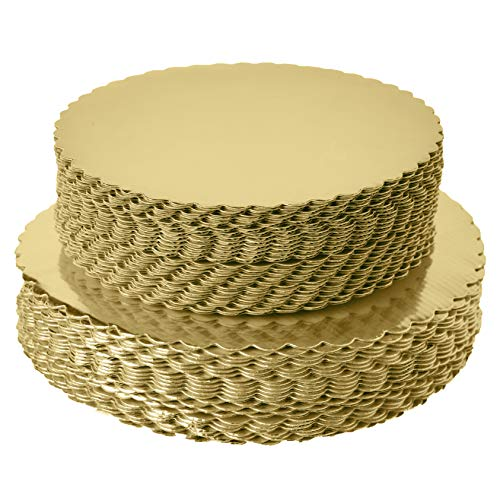 [25pcs]10' Gold Cakeboard Round,Disposable Cake Circle Base Boards Cake Plate Round Coated Circle Cakeboard Base 10inch,Pack of 25