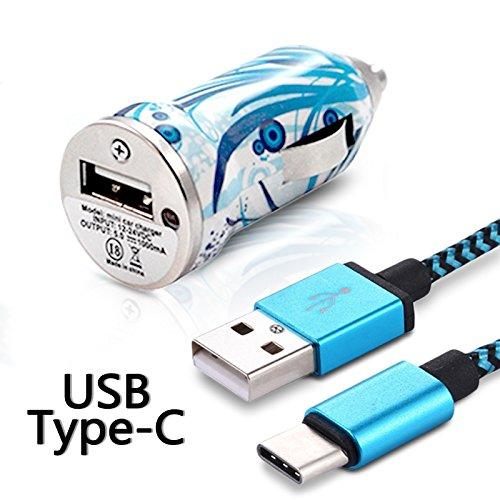 Karylax - Cargador de coche adaptador para encendedor de coche, cable USB tipo C, longitud 1 m, diseño HF08 cable USB tipo C para Samsung Galaxy A5 2017