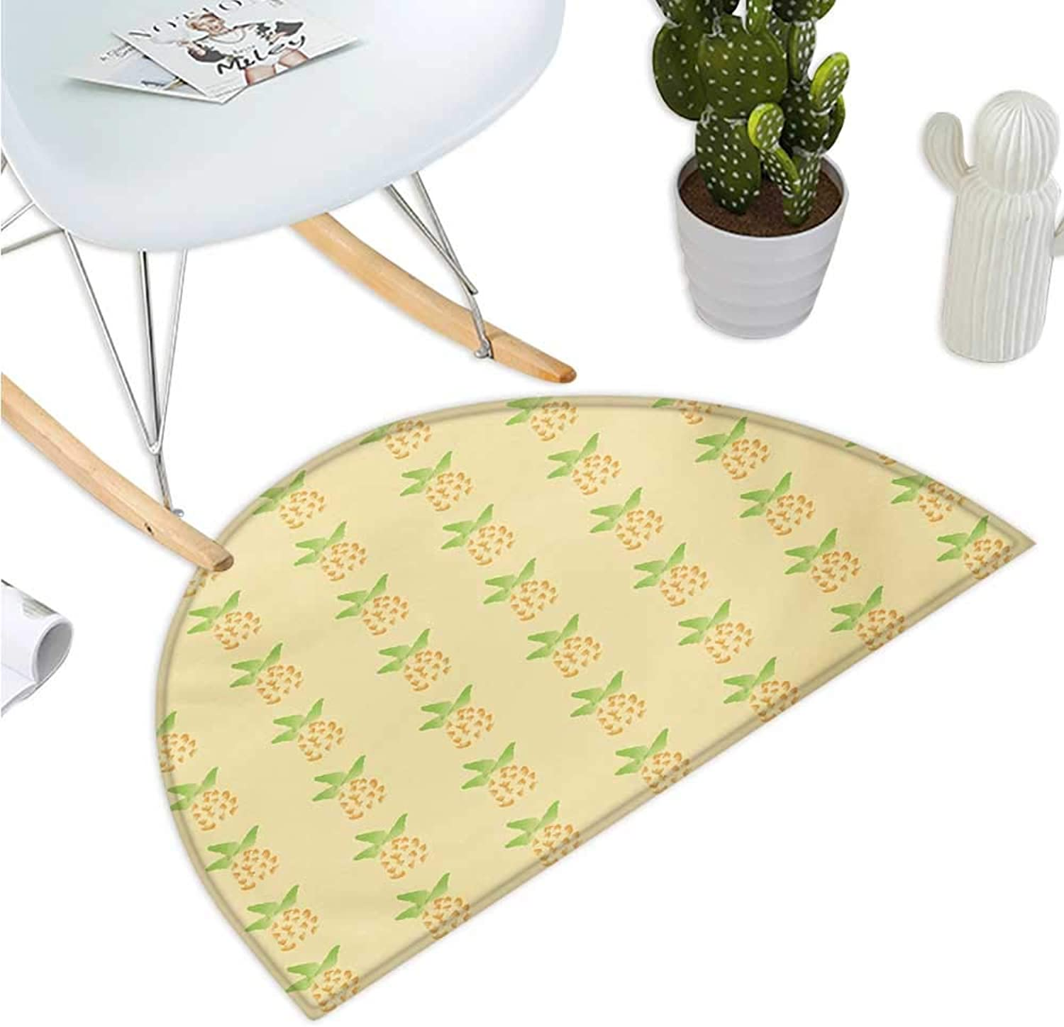 Exotic Semicircular Cushion Watercolor Pineapple with Brush Strokes Hawaii Themed Illustration Entry Door Mat H 39.3  xD 59  orange Pale Yellow Green