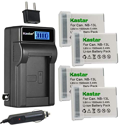 Kastar 4-Pack NB-13L Battery and LCD AC Charger Compatible with Canon PowerShot G9 X, PowerShot G9 X Mark II, PowerShot SX620 HS, PowerShot SX720 HS, PowerShot SX730 HS Digital Cameras -  CHL-4B-NB13L-A