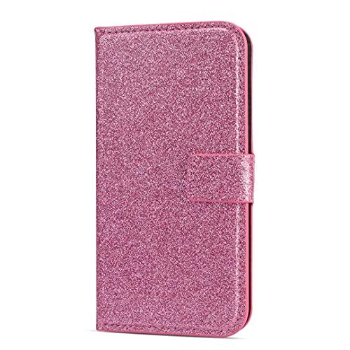 Funda para iPhone 13 Pro, brillo brillante de piel sintética con hebilla de diamantes Bling con absorción de golpes, funda para teléfono con soporte para tarjetas, cierre magnético, color rosa
