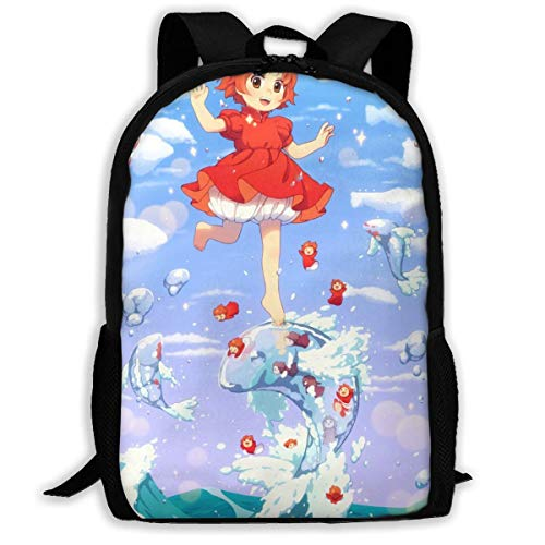 shenguang Anime Ponyo on The Cliff Adult Travel Backpack Fits 15.6 Inch Laptop Backpacks School College Bag Casual Rucksack for Men & Women