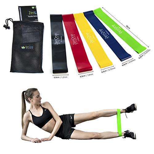 ZenLoops Fitnessbänder Set, 5 Resistance Bands in versch. Stärken, Booty Band für Bein- und Po Training Zuhause, stabile Gymnastikbänder, inkl. E-Book, Workout-Guide & Tasche, 5 Stück