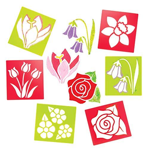 Baker Ross Blumen-Schablonen (6 Stück) – für Kinder zum Basteln und Gestalten im Frühling