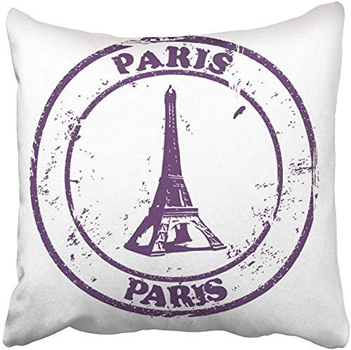 Doble Cojines Fundas 18' Francia París Sello Día Festivo Torre Eiffel Viejo Mundo Post Vintage Funda de Almohada Suave para la Piel