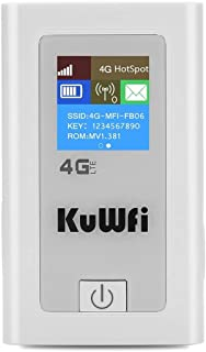 KuWFi Portable 5200mAH Power Bank 3G 4G Wireless Router Mobile WiFi Hotspot with SIM Card Slot 150Mbps cat4 with LCD Displ...