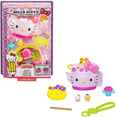 Hello Kitty Cofanetto Tazza di Tè con 2 Mini Personaggi, Blocco per Appunti e Accessori, Giocattolo per Bambini 3+Anni,GVB31