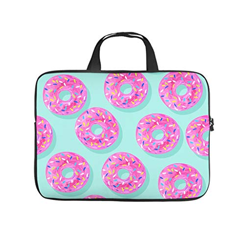 Pink Doughnut Blue Double Sided Printed Laptop Bag Protective Slim Neoprene Laptop Bag Case Stylish Notebook Bag Bag for Business People Office Personnel