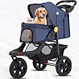 Gaxyd Pet Stroller 3 Wheels Cat Dog Pushchair Trolley Puppy Jogger Carrier, One-Click