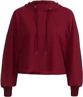 Women Lace T-Shirt, Long Sleeve Solid Print Hooded Sweatshirt ANJUNIE Pullovers Tops