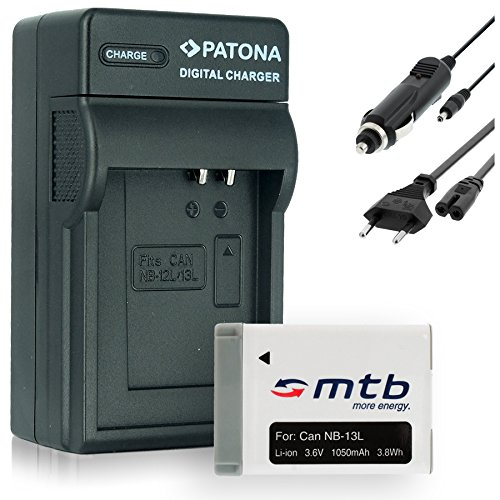 Baterìa + Cargador (Coche/Corriente) NB-13L NB13LH para Canon PowerShot G7 X (3.6V - 1050mAh - con INFOCHIP)