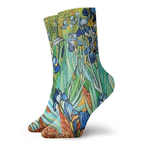 LUCKY Home Pintura al óleo Iris Flower Art Color Ligero Resistente al desgaste Absorbente de sudor Importado Unisex Calcetines