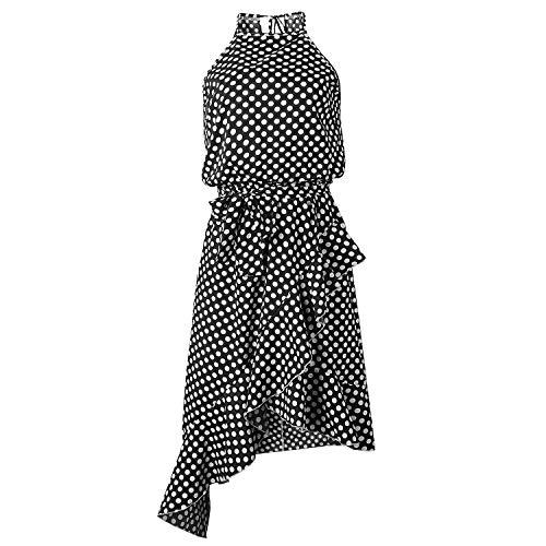TSWRK Damen Sommerkleid Punktes Kleid Ärmellos Partykleid Wickelkleider mit Gürtel