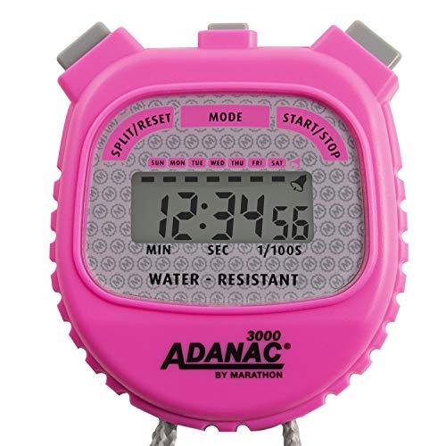 Marathon Adanac 3000 digitale stopwatch timer, waterbestendig (Neon roze, pak van 1)