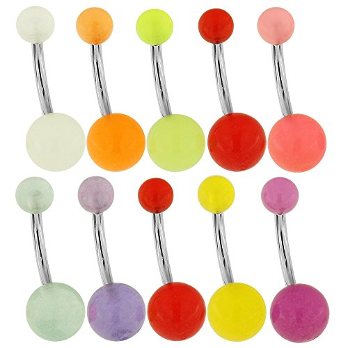10 Pieces Pack of UV Glow in the Dark Ball with 14 Gauge - 12MM Length 316L Surgical Steel Banana Belly Button Rings