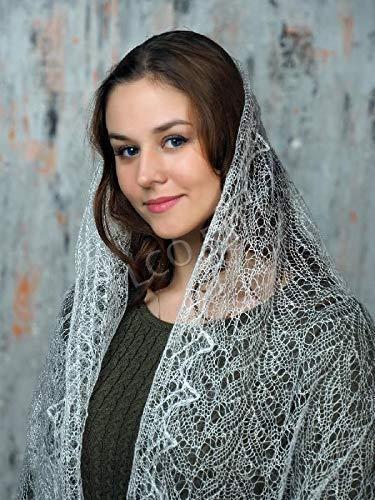 White woolen scarf, Hand knit wrap, Lace wedding shawl, Warm bridal cape, Goat down cover up, Russian Orenburg shawl, Stole, Kerchief