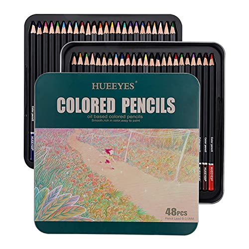 48 Oil Based colored pencils for adults with Color Wheel, Water-Based Coating, Ideal for Coloring and Drawing, Vibrant Color Professional Art School Supplies for Kids, Holiday Gifts for beginner