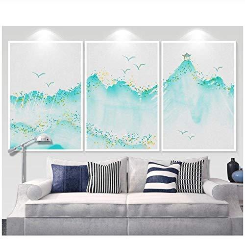 Zhaoyangeng Water & Inkt Schilderij 3 Stukken Groene Berg Paviljoen Oude Chinese Schilderij Print Canvas Muur Art- 40X80Cmx3 Geen Frame