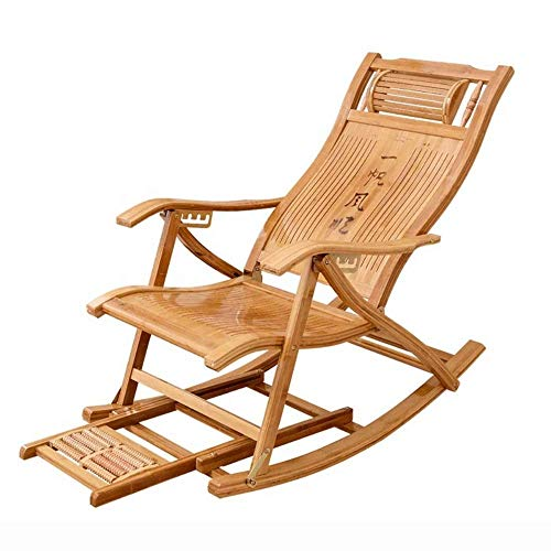 KaidanAdult Siesta Rocking Chair Simple Modern Log Rocking Chair, Lounge Chair for The Elderly, Foldable Lunch Break for Summer Break, Single Portable Small Home Lounge Chair