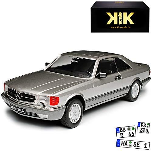 KK-Scale Mercedes-Benz 560 SEC S-Klasse W126 Silber 1979-1991 1/18 Modell Auto mit individiuellem Wunschkennzeichen