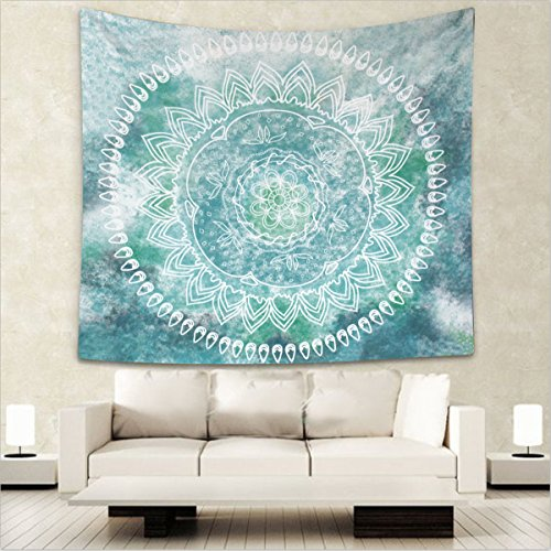 Alumuk Wandteppich Mandala Weiß, Wandtuch Psychedelic Indian Rund Blume Wandbehang Türkis Goa Tuch Gobelin Tapisserie Stickerei Strandtuch türkisch Kilim Kelim (Weiß auf Türkis, 150 x 130 cm)