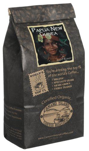 Organic Camano Island Coffee Roasters Papua New Guinea, Light Roast, Whole Bean, 16-Ounce Bags (Pack of 3)