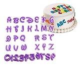 Somtis - set di 36 stampini con lettere e numeri per realizzare decorazioni fai da te per la pasta di zucchero, le torte e i biscotti